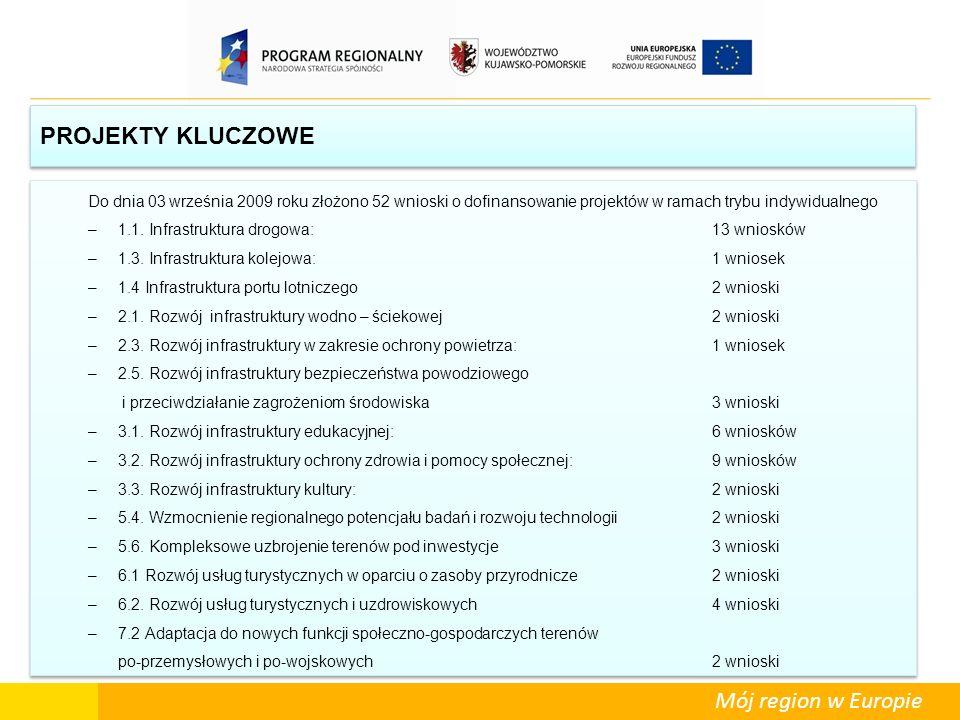 PROJEKTY KLUCZOWE Do dnia 03 września 2009 roku złożono 52 wnioski o dofinansowanie projektów w ramach trybu indywidualnego.