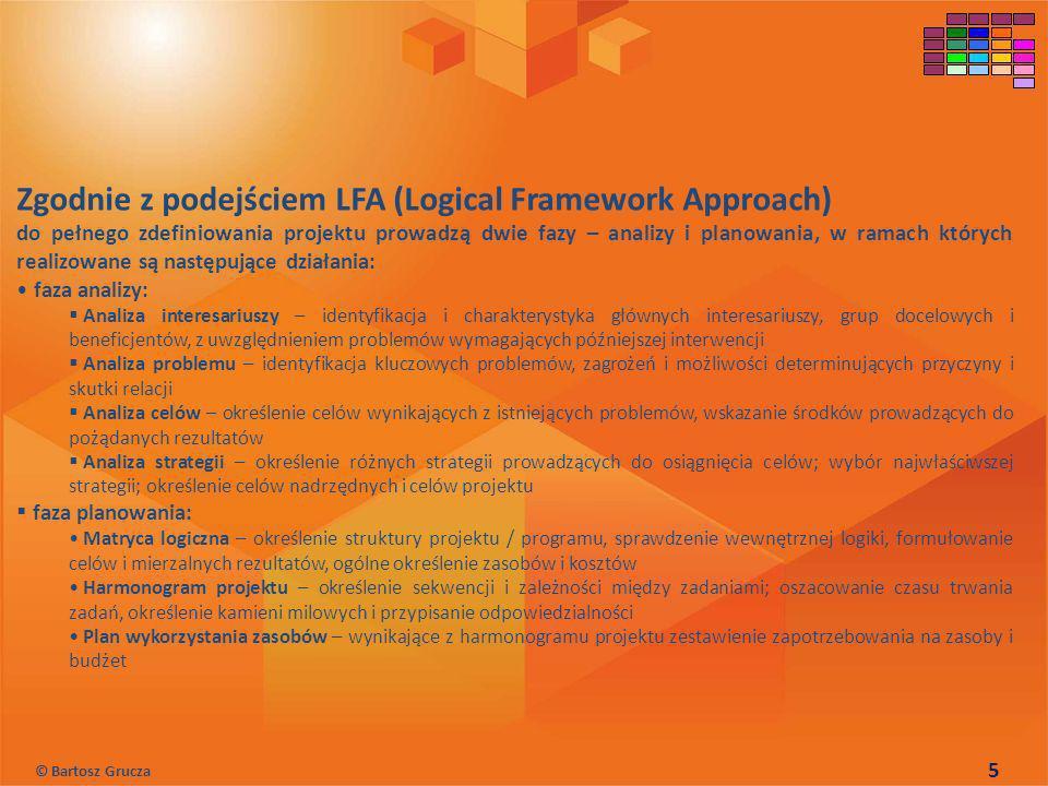 Zgodnie z podejściem LFA (Logical Framework Approach)