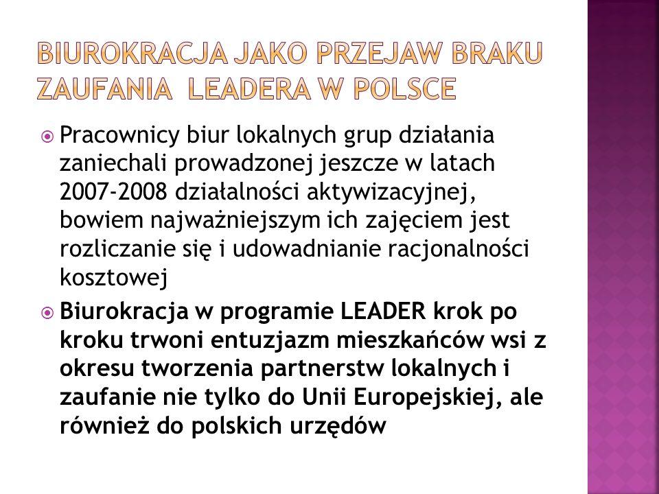 Biurokracja jako przejaw braku zaufania LEADERA w POlsce