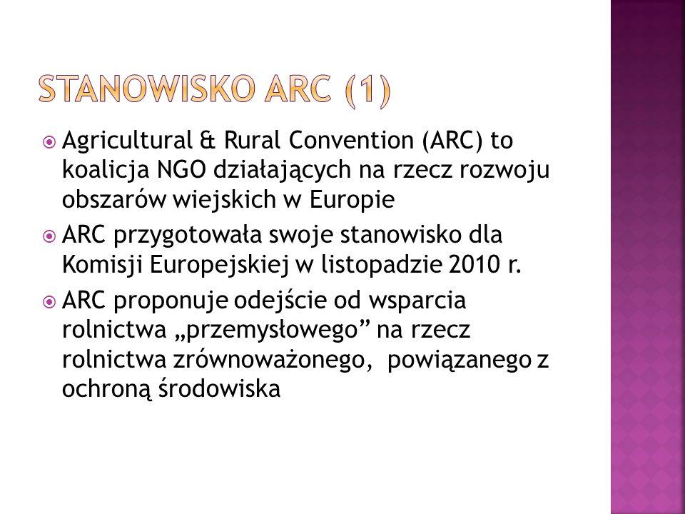 Stanowisko ARC (1) Agricultural & Rural Convention (ARC) to koalicja NGO działających na rzecz rozwoju obszarów wiejskich w Europie.