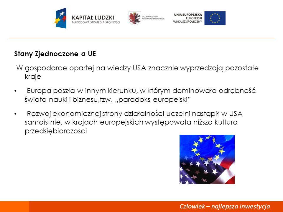 88 Stany Zjednoczone a UE. W gospodarce opartej na wiedzy USA znacznie wyprzedzają pozostałe kraje.