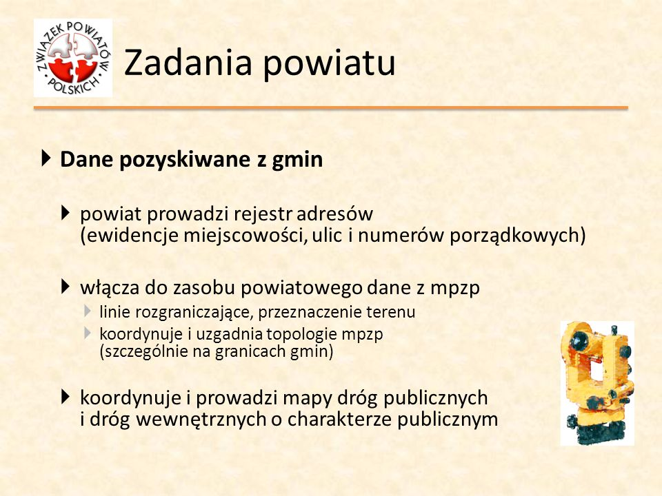 Zadania powiatu Dane pozyskiwane z gmin