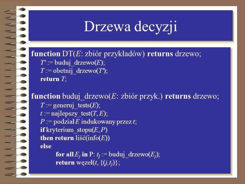 Drzewa decyzji function DT(E: zbiór przykładów) returns drzewo;
