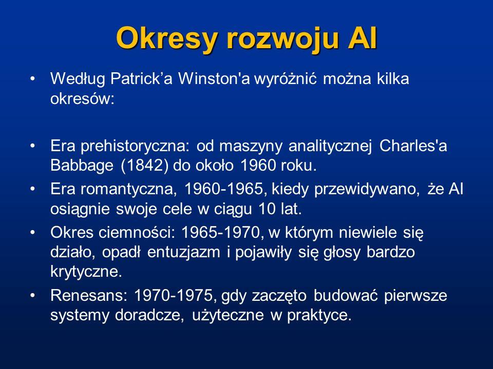 Okresy rozwoju AI Według Patrick'a Winston a wyróżnić można kilka okresów: