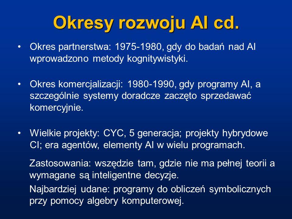Okresy rozwoju AI cd. Okres partnerstwa: 1975-1980, gdy do badań nad AI wprowadzono metody kognitywistyki.