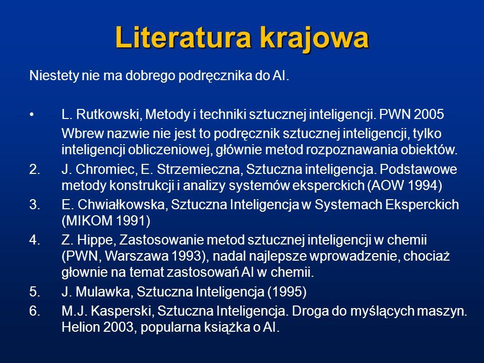 Literatura krajowa Niestety nie ma dobrego podręcznika do AI.