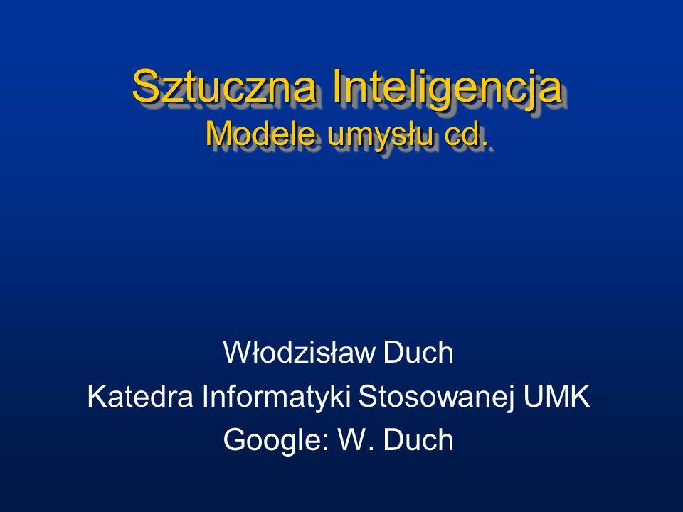 Sztuczna Inteligencja Modele umysłu cd.
