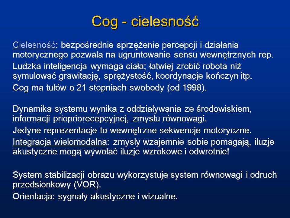 Cog - cielesność Cielesność: bezpośrednie sprzężenie percepcji i działania motorycznego pozwala na ugruntowanie sensu wewnętrznych rep.