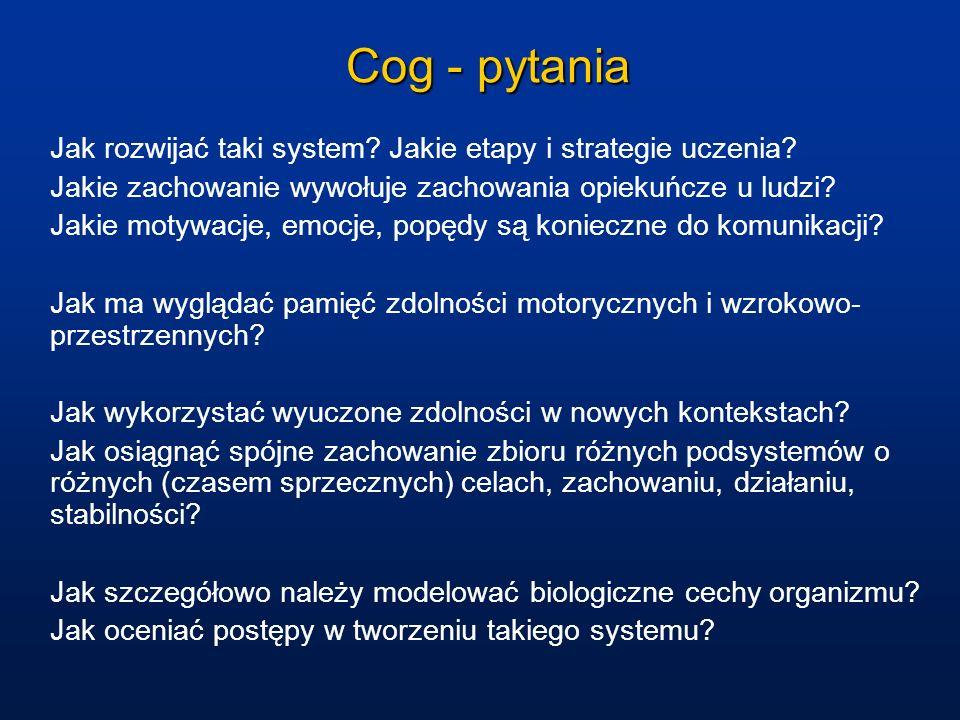 Cog - pytania Jak rozwijać taki system Jakie etapy i strategie uczenia Jakie zachowanie wywołuje zachowania opiekuńcze u ludzi