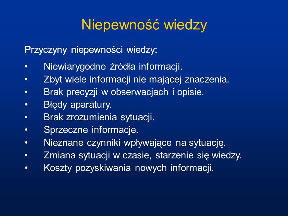 Niepewność wiedzy Przyczyny niepewności wiedzy:
