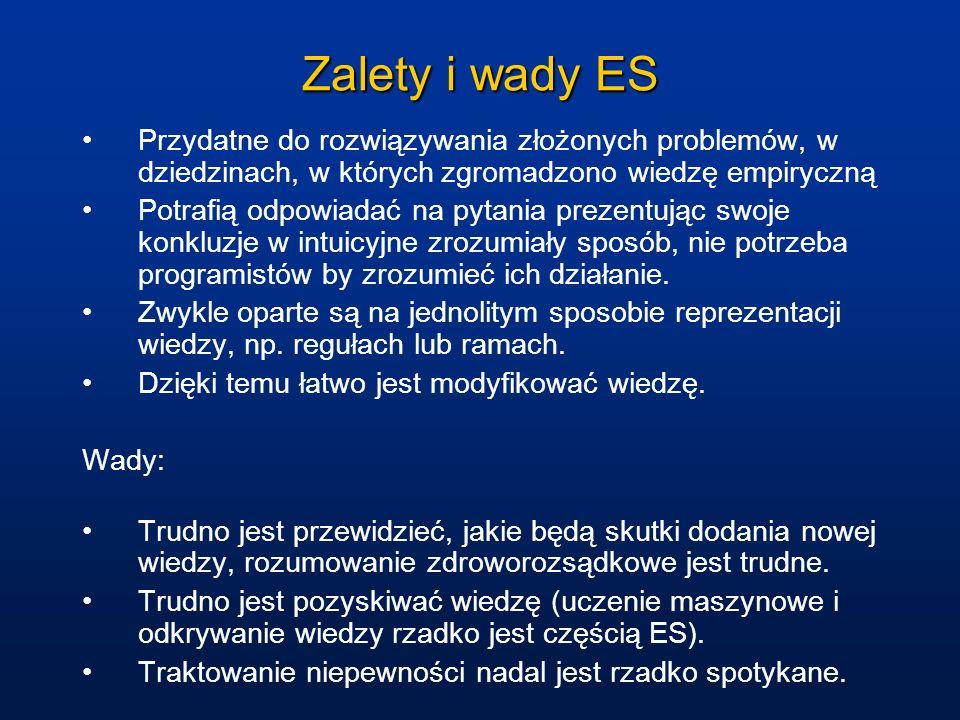 Zalety i wady ES Przydatne do rozwiązywania złożonych problemów, w dziedzinach, w których zgromadzono wiedzę empiryczną.