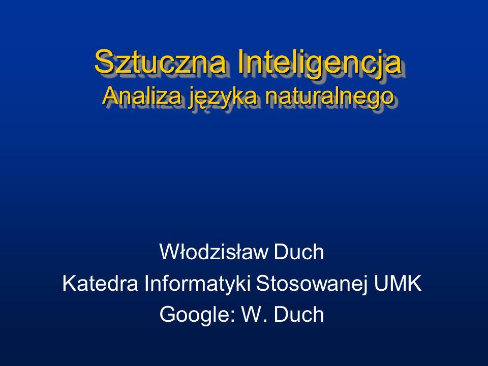 Sztuczna Inteligencja Analiza języka naturalnego