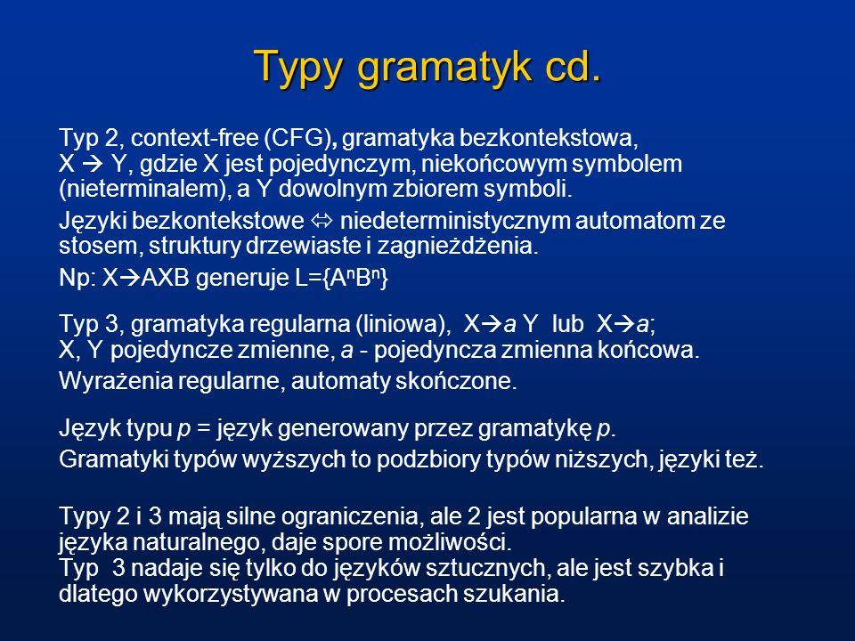 Typy gramatyk cd.