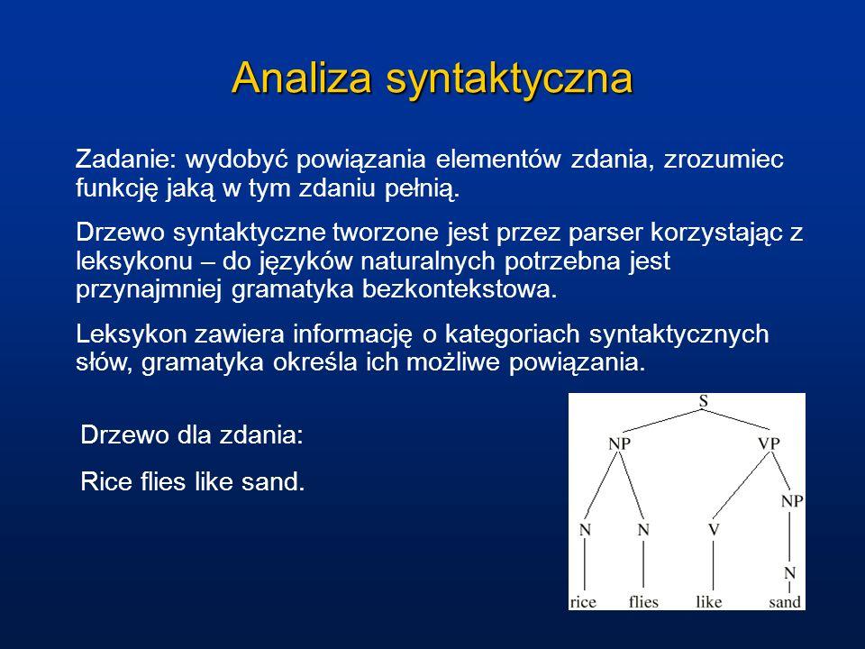 Analiza syntaktyczna Zadanie: wydobyć powiązania elementów zdania, zrozumiec funkcję jaką w tym zdaniu pełnią.