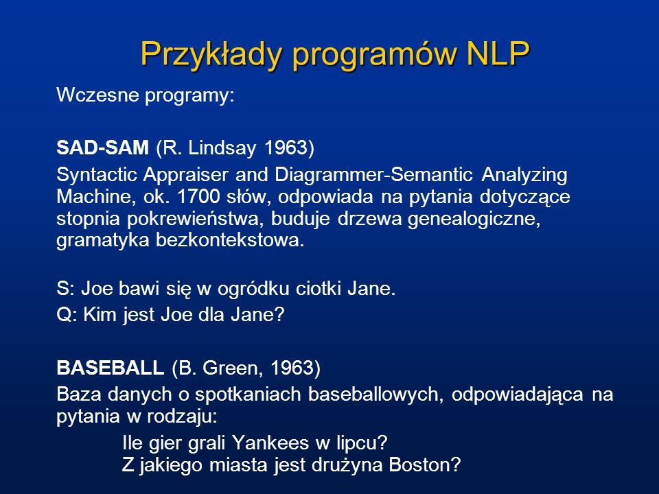 Przykłady programów NLP