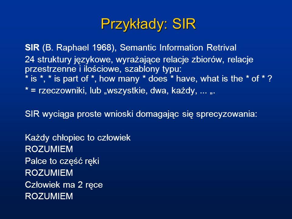 Przykłady: SIR SIR (B. Raphael 1968), Semantic Information Retrival