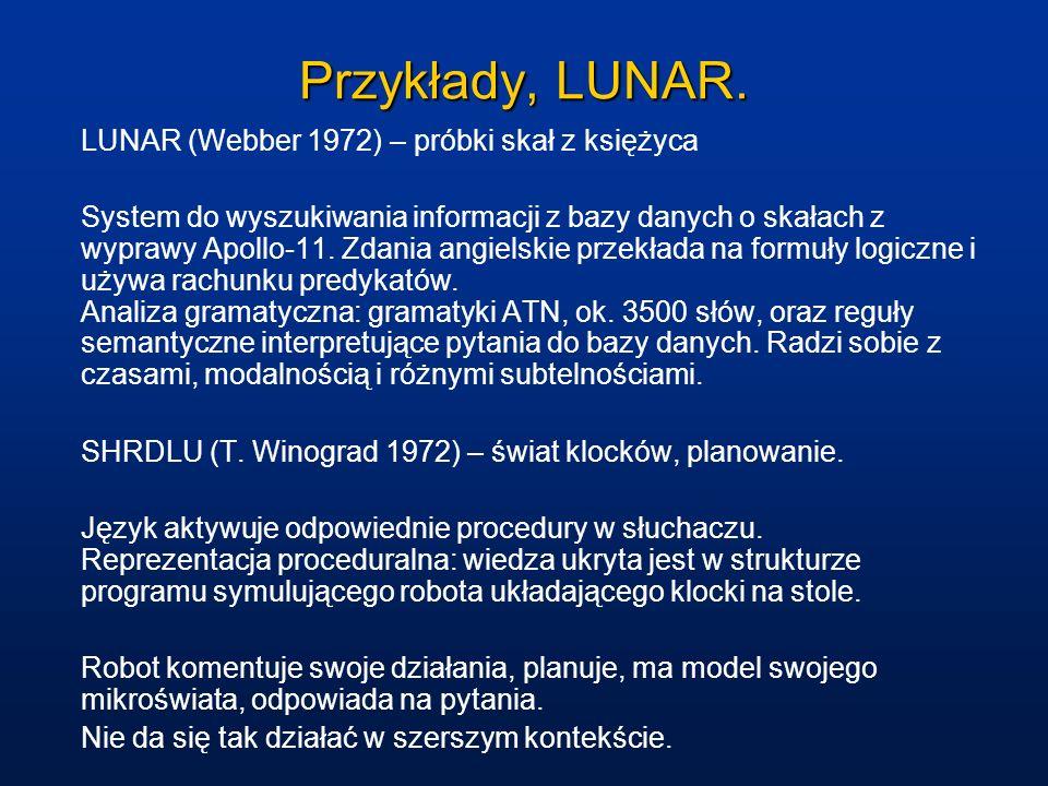 Przykłady, LUNAR. LUNAR (Webber 1972) – próbki skał z księżyca