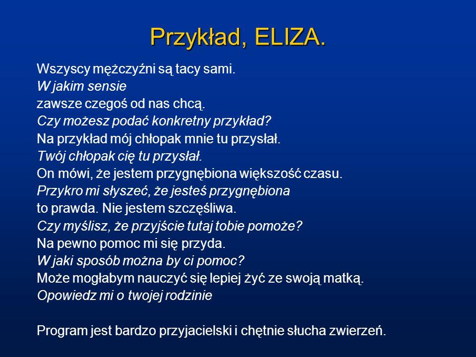 Przykład, ELIZA. Wszyscy mężczyźni są tacy sami. W jakim sensie