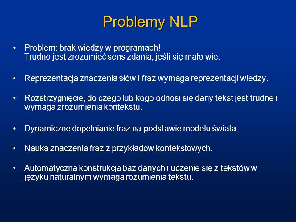 Problemy NLP Problem: brak wiedzy w programach! Trudno jest zrozumieć sens zdania, jeśli się mało wie.