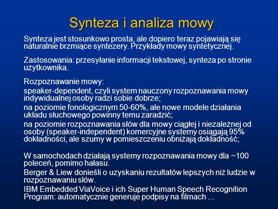 Synteza i analiza mowy Synteza jest stosunkowo prosta, ale dopiero teraz pojawiają się naturalnie brzmiące syntezery. Przykłady mowy syntetycznej.