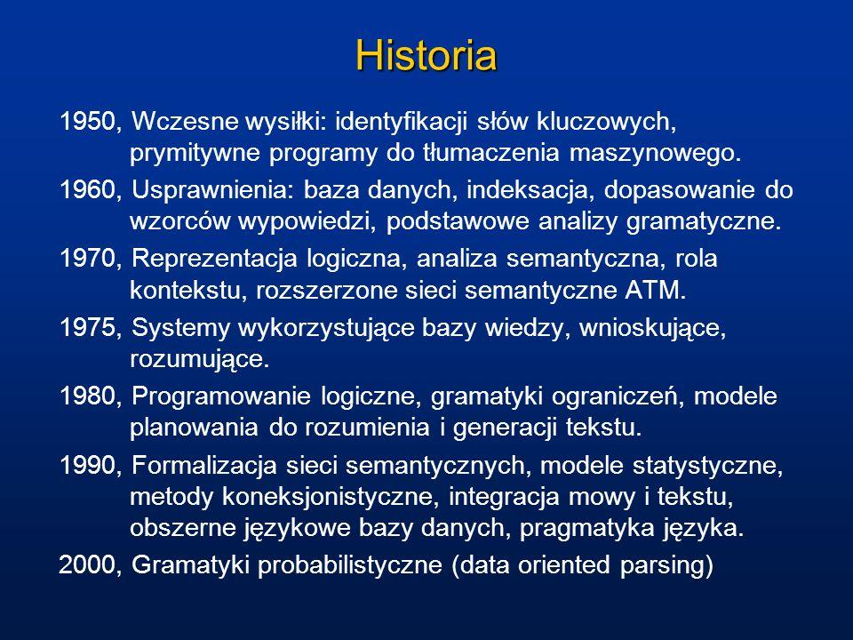 Historia1950, Wczesne wysiłki: identyfikacji słów kluczowych, prymitywne programy do tłumaczenia maszynowego.