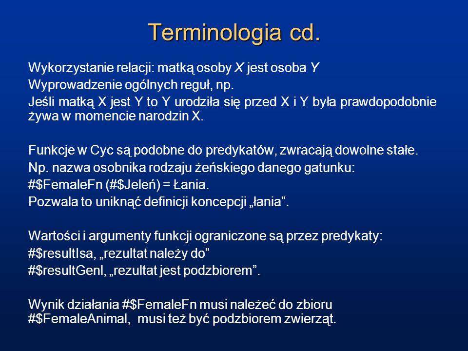 Terminologia cd. Wykorzystanie relacji: matką osoby X jest osoba Y