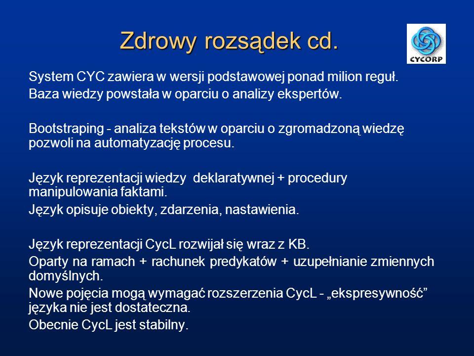 Zdrowy rozsądek cd. System CYC zawiera w wersji podstawowej ponad milion reguł. Baza wiedzy powstała w oparciu o analizy ekspertów.