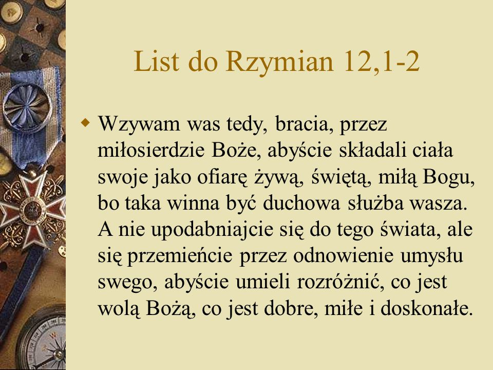 List do Rzymian 12,1-2