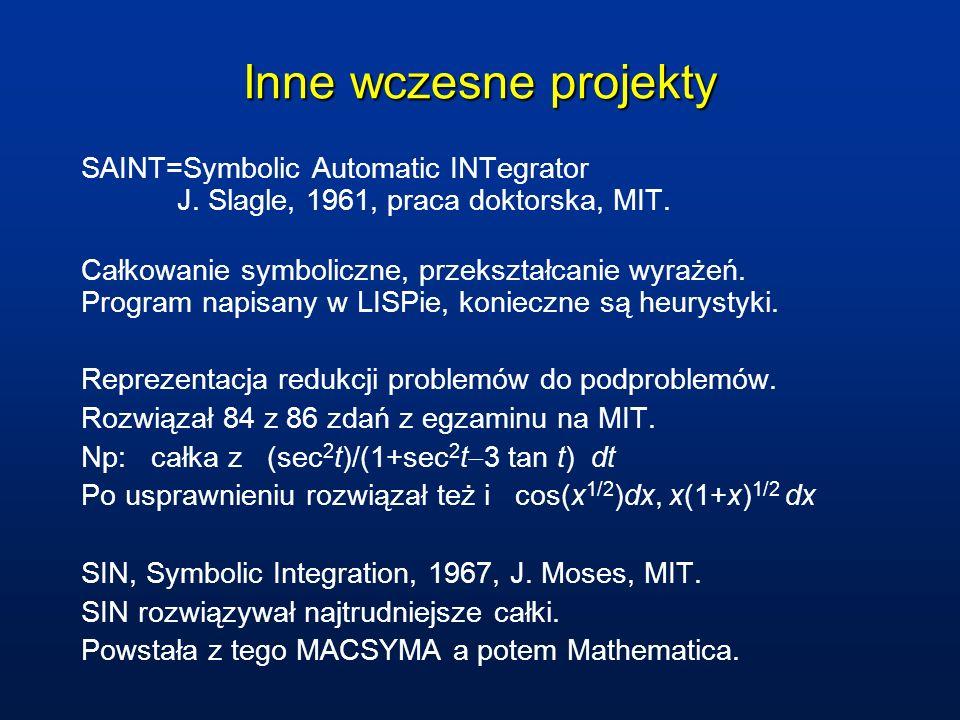 Inne wczesne projekty SAINT=Symbolic Automatic INTegrator J. Slagle, 1961, praca doktorska, MIT.