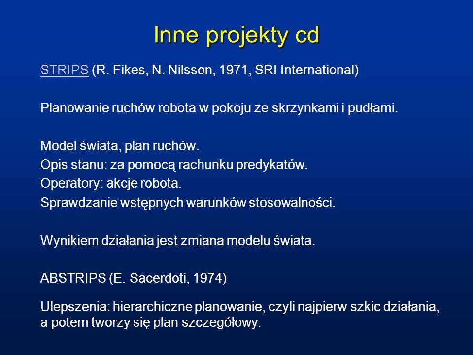 Inne projekty cd STRIPS (R. Fikes, N. Nilsson, 1971, SRI International) Planowanie ruchów robota w pokoju ze skrzynkami i pudłami.