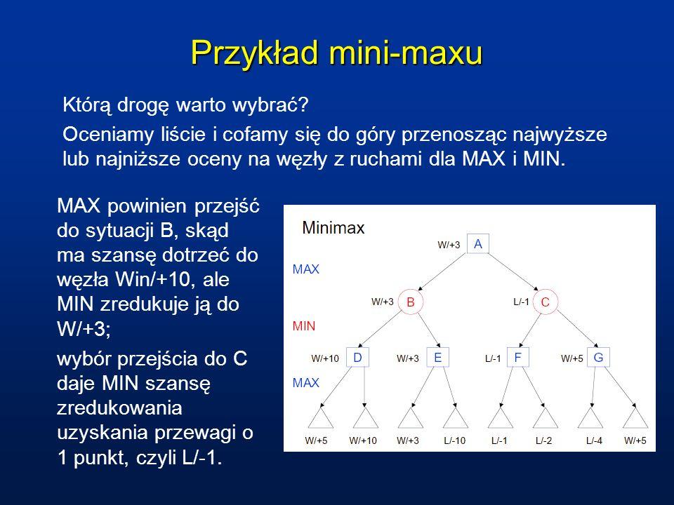 Przykład mini-maxu Którą drogę warto wybrać