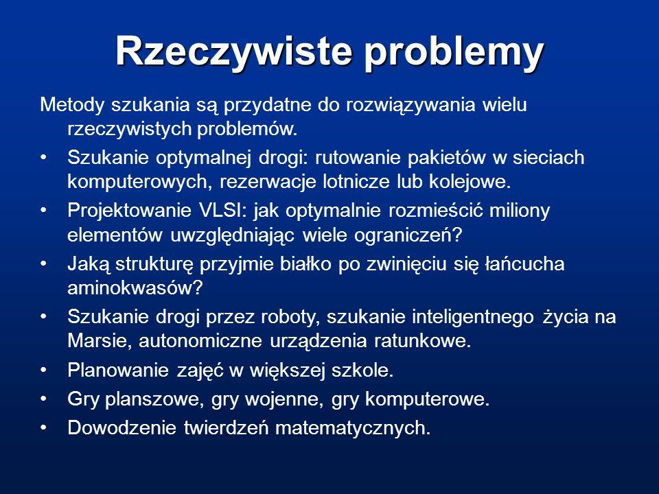 Rzeczywiste problemy Metody szukania są przydatne do rozwiązywania wielu rzeczywistych problemów.
