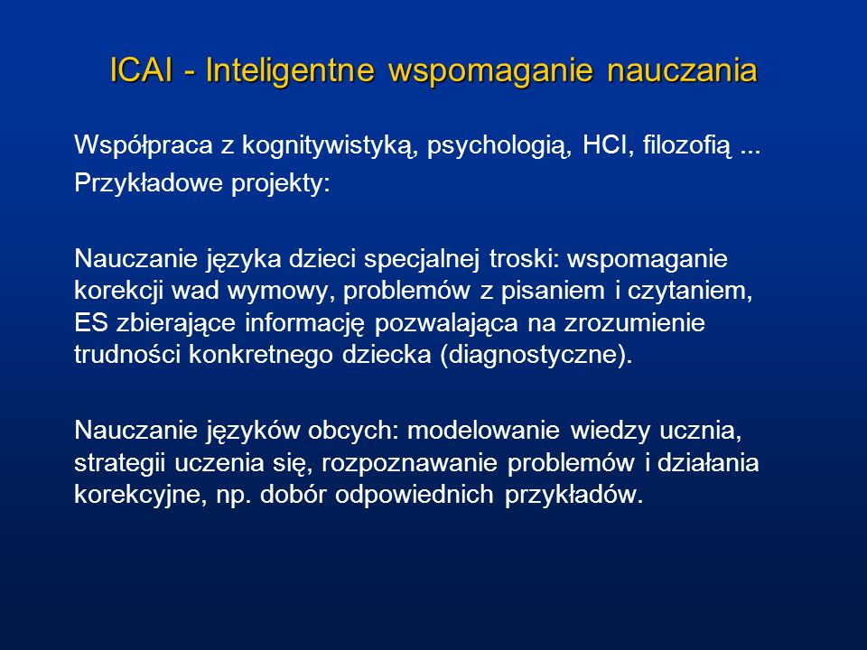 ICAI - Inteligentne wspomaganie nauczania