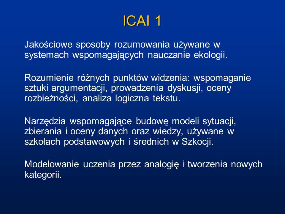 ICAI 1 Jakościowe sposoby rozumowania używane w systemach wspomagających nauczanie ekologii.