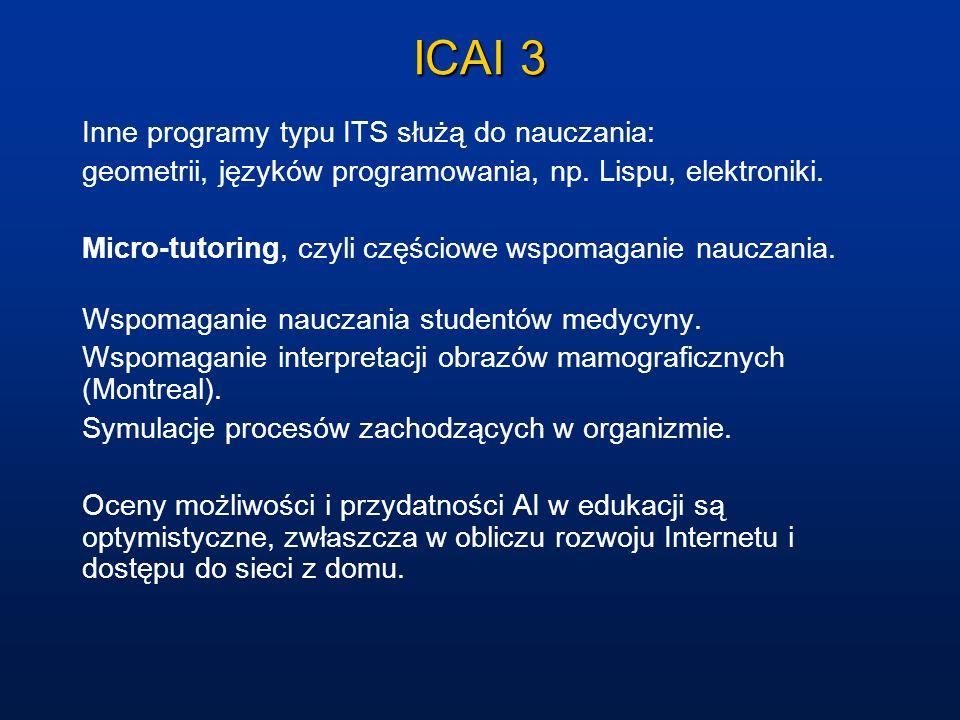 ICAI 3 Inne programy typu ITS służą do nauczania: