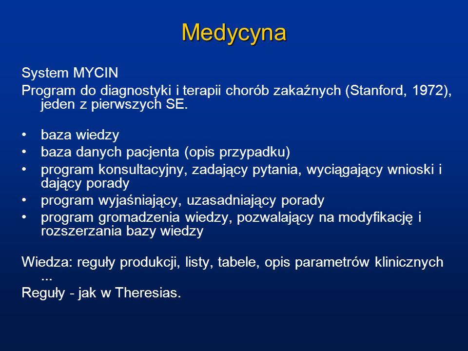 Medycyna System MYCIN. Program do diagnostyki i terapii chorób zakaźnych (Stanford, 1972), jeden z pierwszych SE.