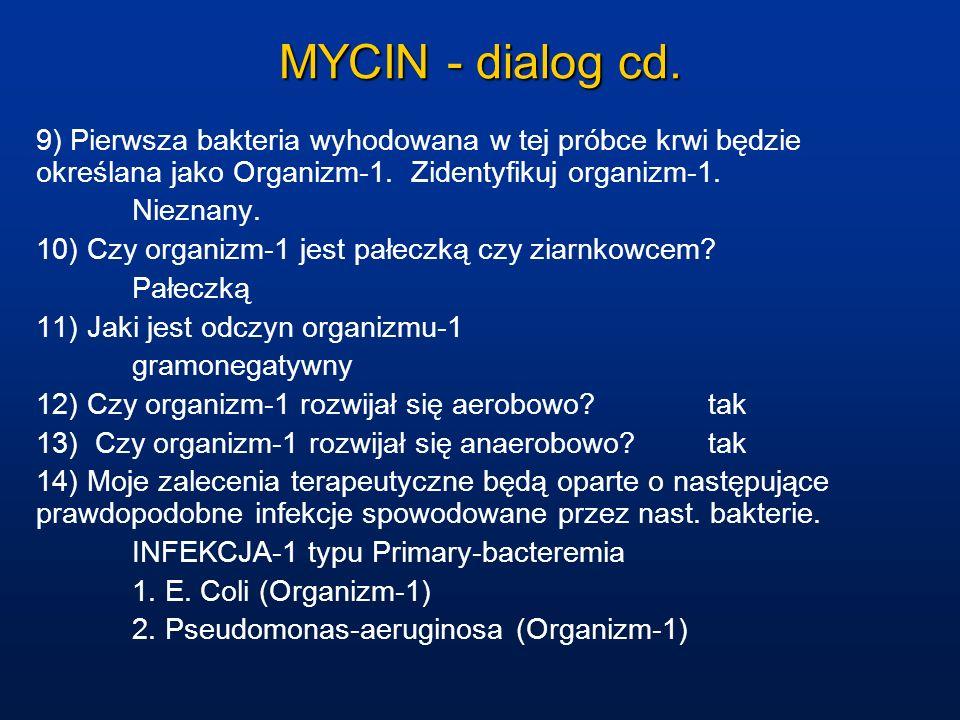 MYCIN - dialog cd. 9) Pierwsza bakteria wyhodowana w tej próbce krwi będzie określana jako Organizm-1. Zidentyfikuj organizm-1.