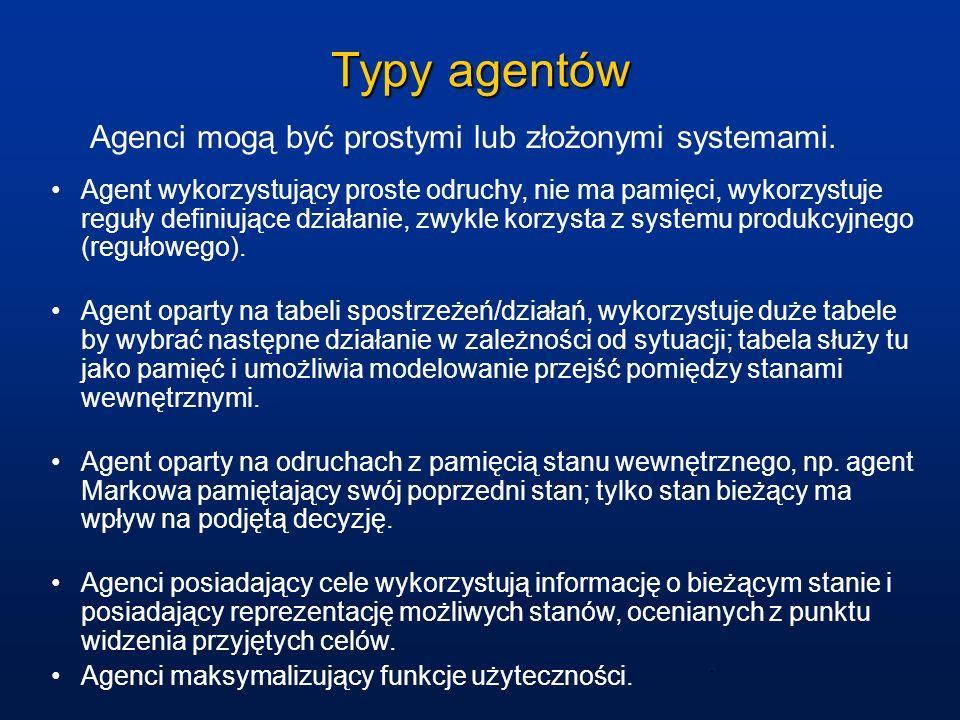 Typy agentów Agenci mogą być prostymi lub złożonymi systemami.