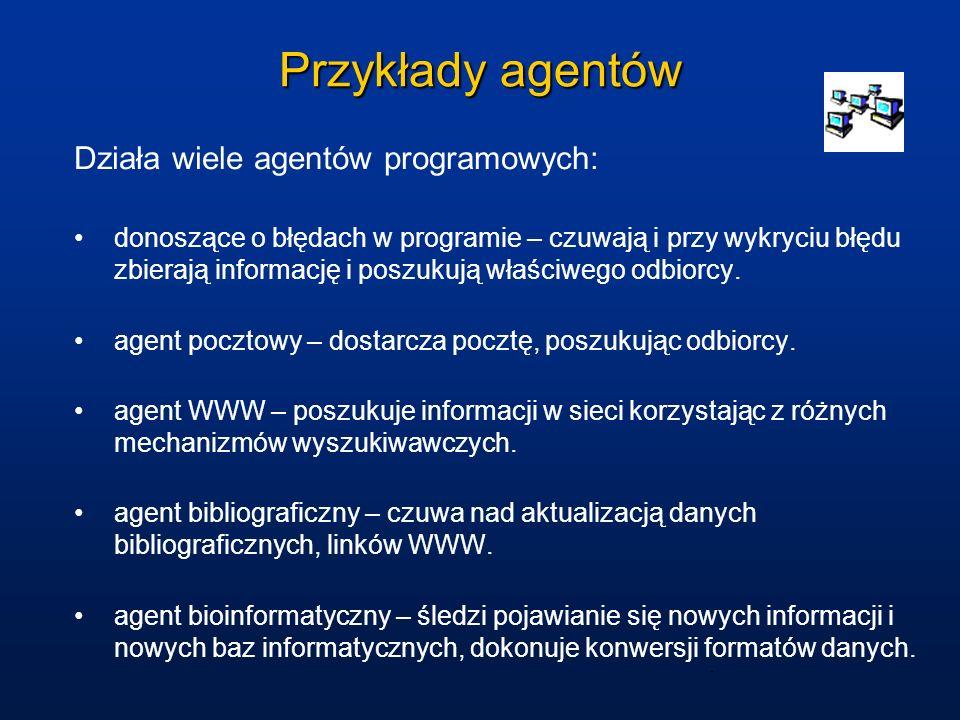 Przykłady agentów Działa wiele agentów programowych: