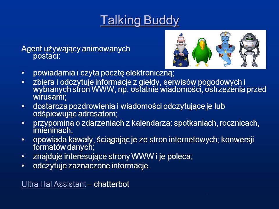 Talking Buddy Agent używający animowanych postaci: