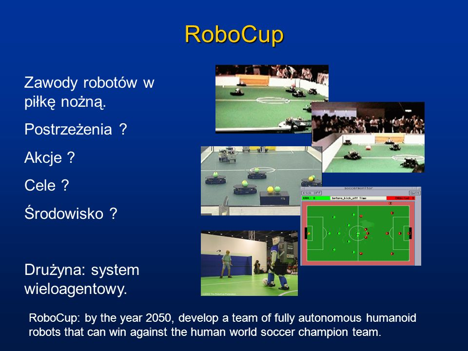 RoboCup Zawody robotów w piłkę nożną. Postrzeżenia Akcje Cele