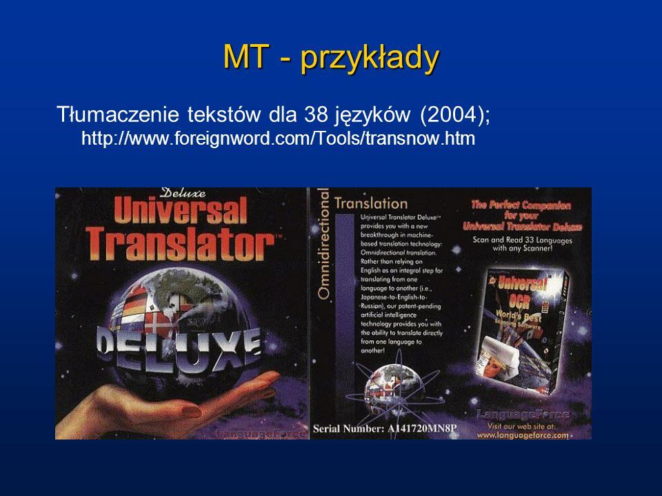 MT - przykłady Tłumaczenie tekstów dla 38 języków (2004); http://www.foreignword.com/Tools/transnow.htm.