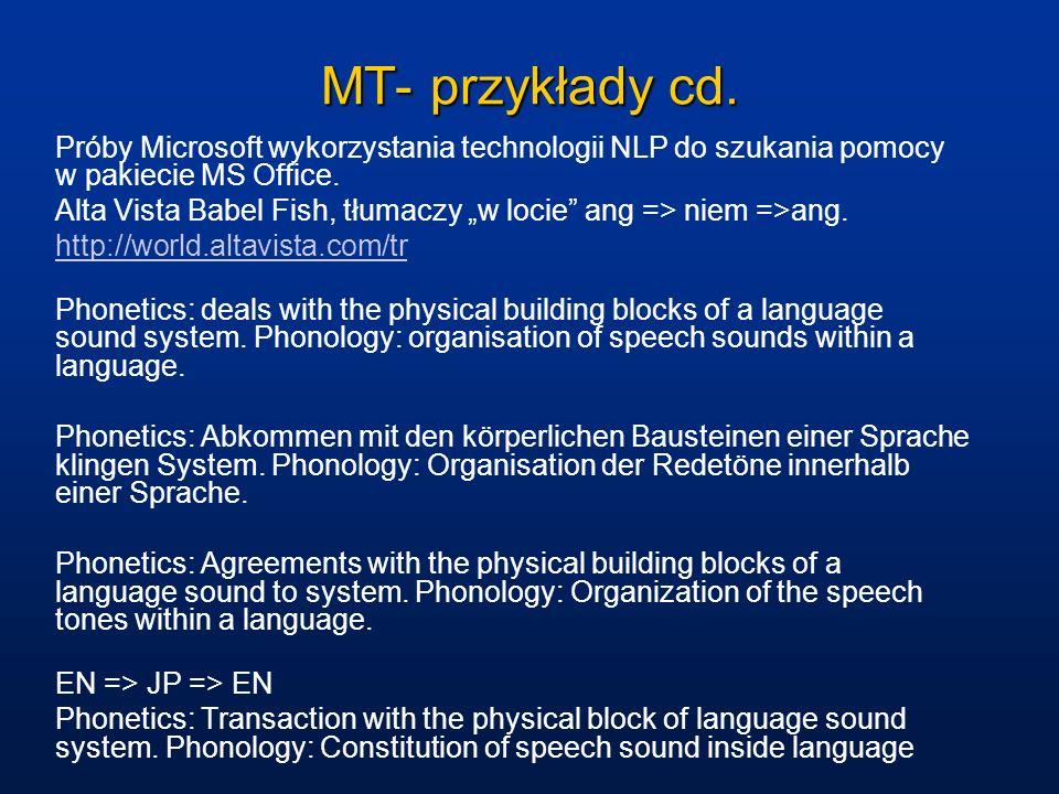 MT- przykłady cd. Próby Microsoft wykorzystania technologii NLP do szukania pomocy w pakiecie MS Office.