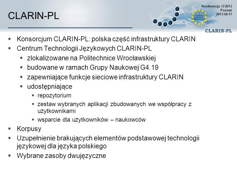 CLARIN-PL Konsorcjum CLARIN-PL: polska część infrastruktury CLARIN