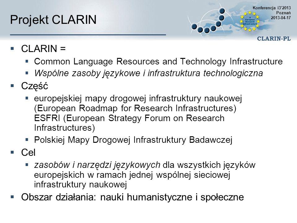 Projekt CLARIN CLARIN = Część Cel