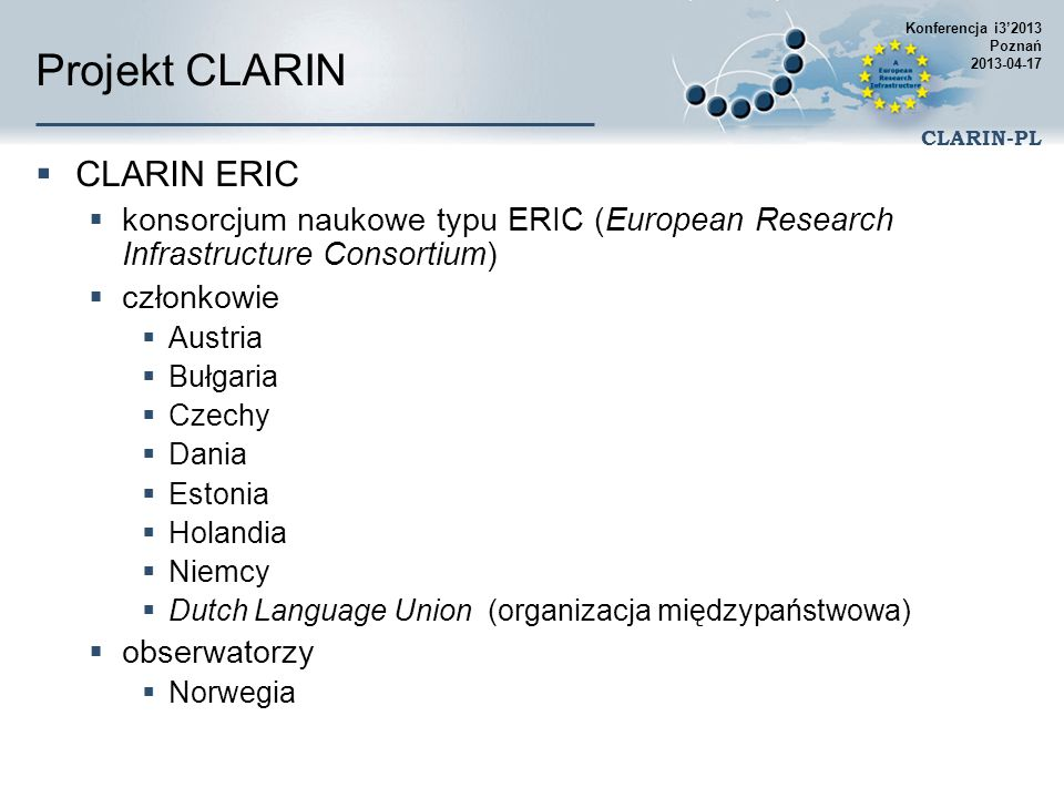 Projekt CLARIN CLARIN ERIC