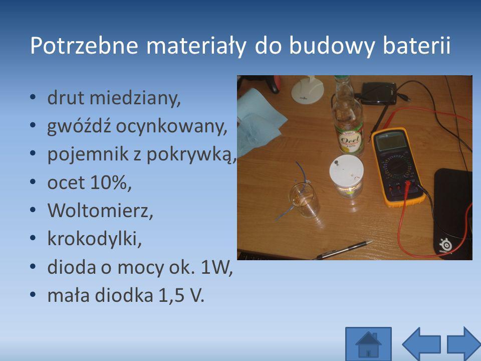 Potrzebne materiały do budowy baterii