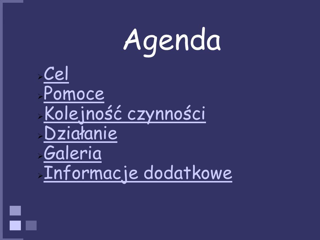 Agenda Cel Pomoce Kolejność czynności Działanie Galeria