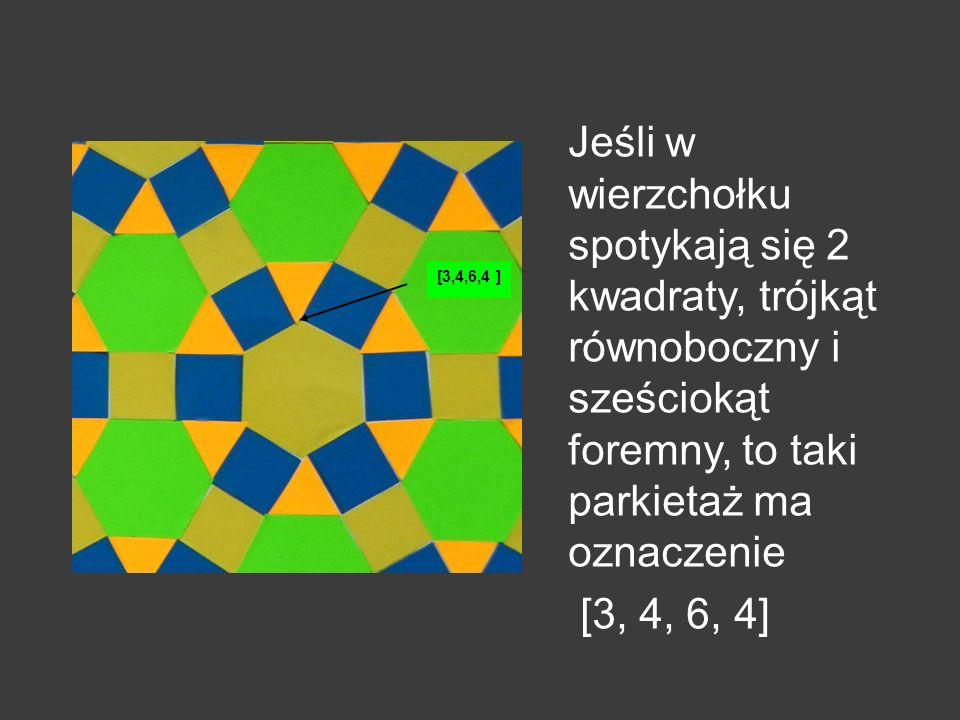 Jeśli w wierzchołku spotykają się 2 kwadraty, trójkąt równoboczny i sześciokąt foremny, to taki parkietaż ma oznaczenie
