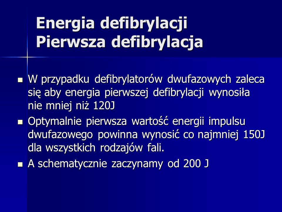 Energia defibrylacji Pierwsza defibrylacja